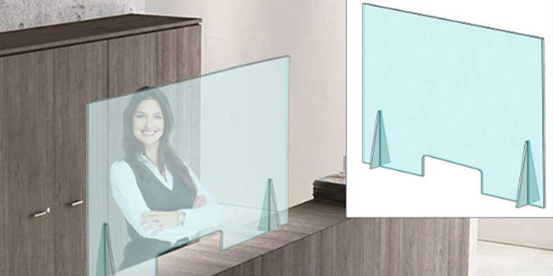 Mampara de protección de Oficina Ideavinilo barata baratas barato baratos pantalla pantallas covid oficina oficinas mesa mostrador ventanilla